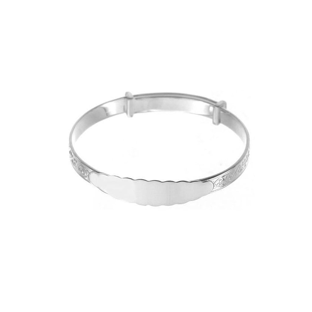 Children's Sterling Silver Patterned ID Bangle