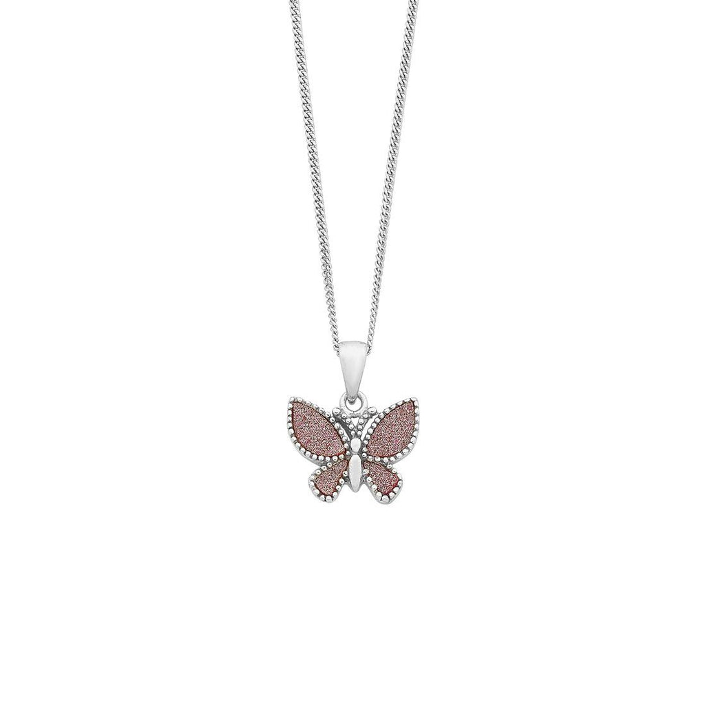 Children's Sterling Silver Pink Glitter Butterfly Necklace