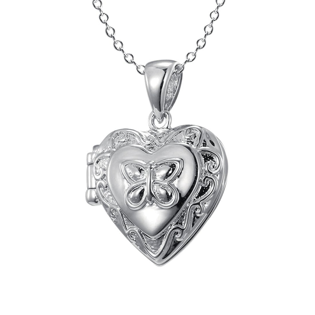 Children's Sterling Silver Engraved Heart Locket with Butterfly Necklaces Bevilles