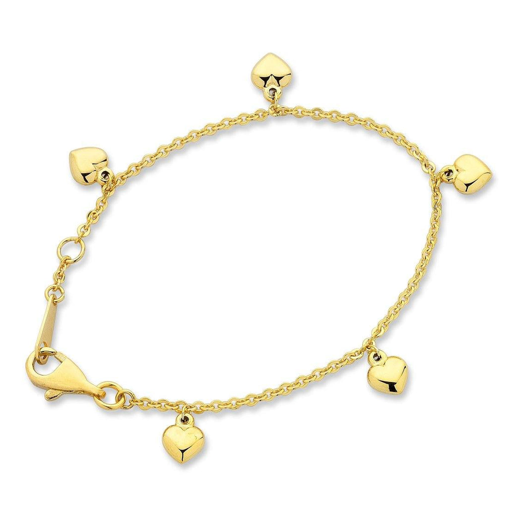 Children's 9ct Yellow Gold Silver Infused Heart Charm Bracelet Bracelets Bevilles