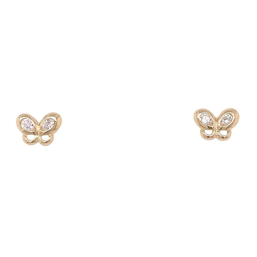 Girls 9ct Yellow Gold Cubic Zirconia Butterfly Stud Earrings
