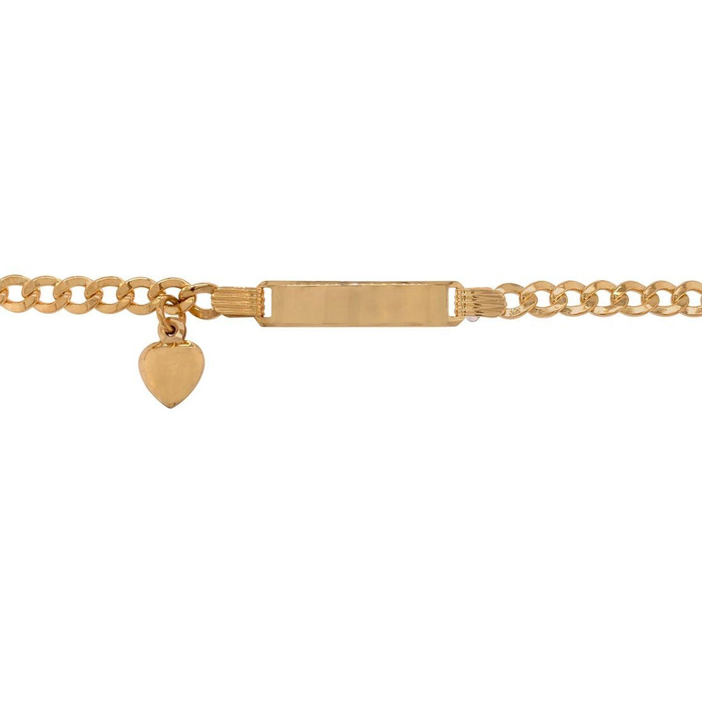 Girls 9ct Yellow Gold ID Bracelet with Heart Charm