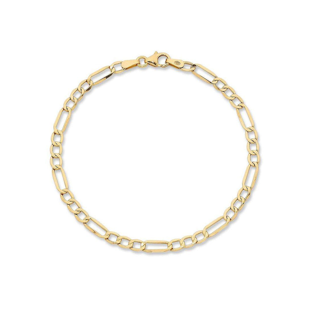 Children's 9ct Yellow Gold Silver Infused Figaro Bracelet