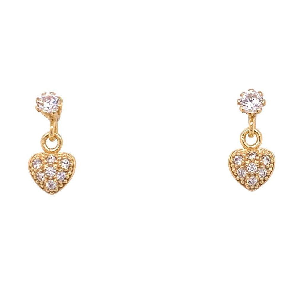 Girls 9ct Yellow Gold Silver Infused Cubic Zirconia Heart Drop Earrings Earrings Bevilles