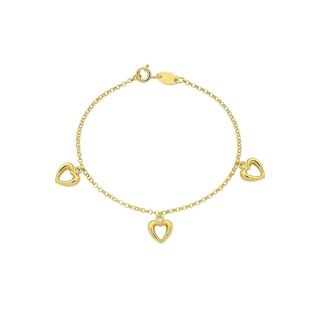 Children's 9ct Yellow Gold Silver Infused Three Heart Bracelet Bracelets Bevilles
