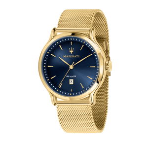 Maserati EPOCA 42mm Blue Dial Gold Mesh Watch