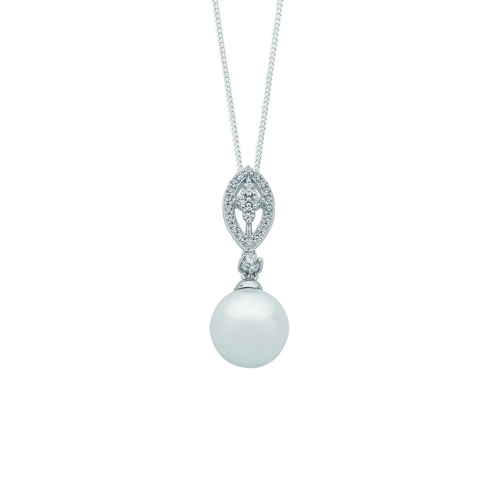Sterling Silver Synthetic Pearl Cubic Zirconia Marquise Necklace