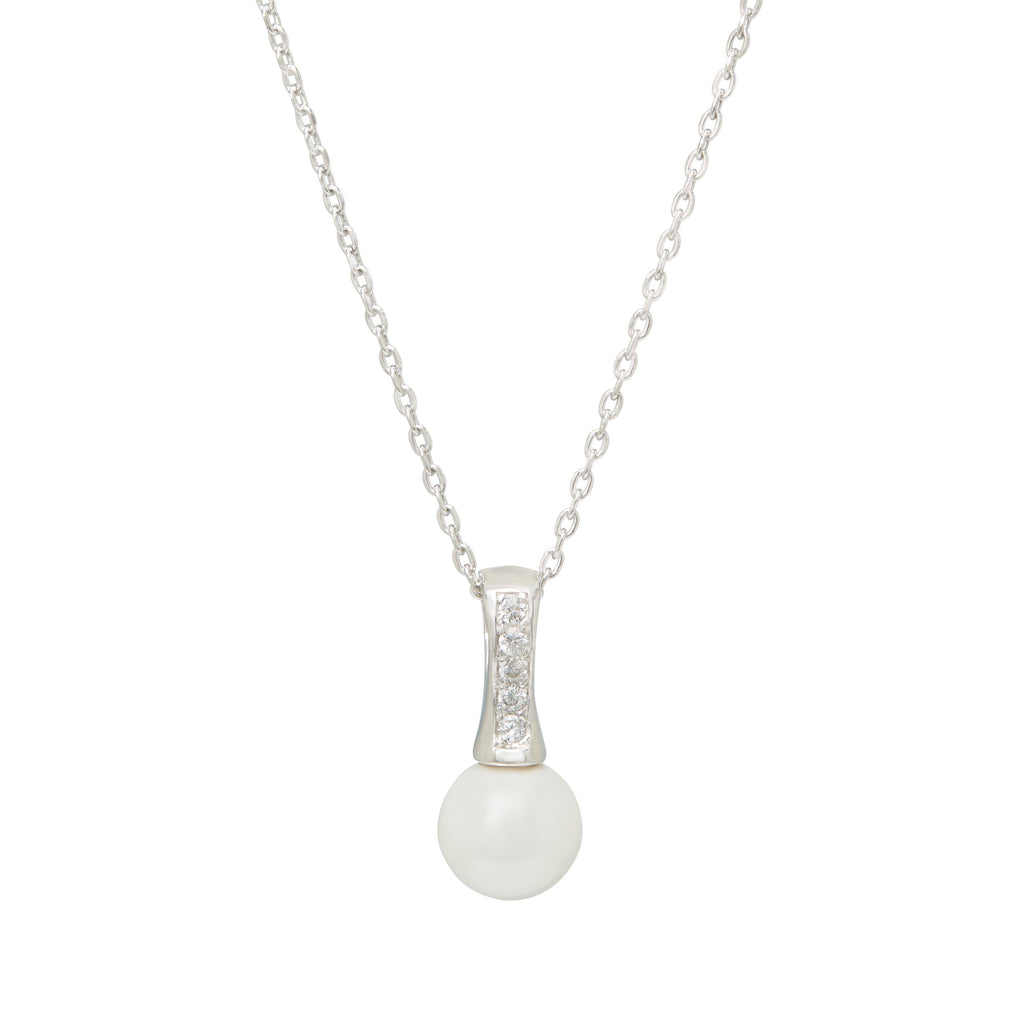 Shell Pearl Cubic Zirconia Drop Necklace in Sterling Silver Necklaces Bevilles