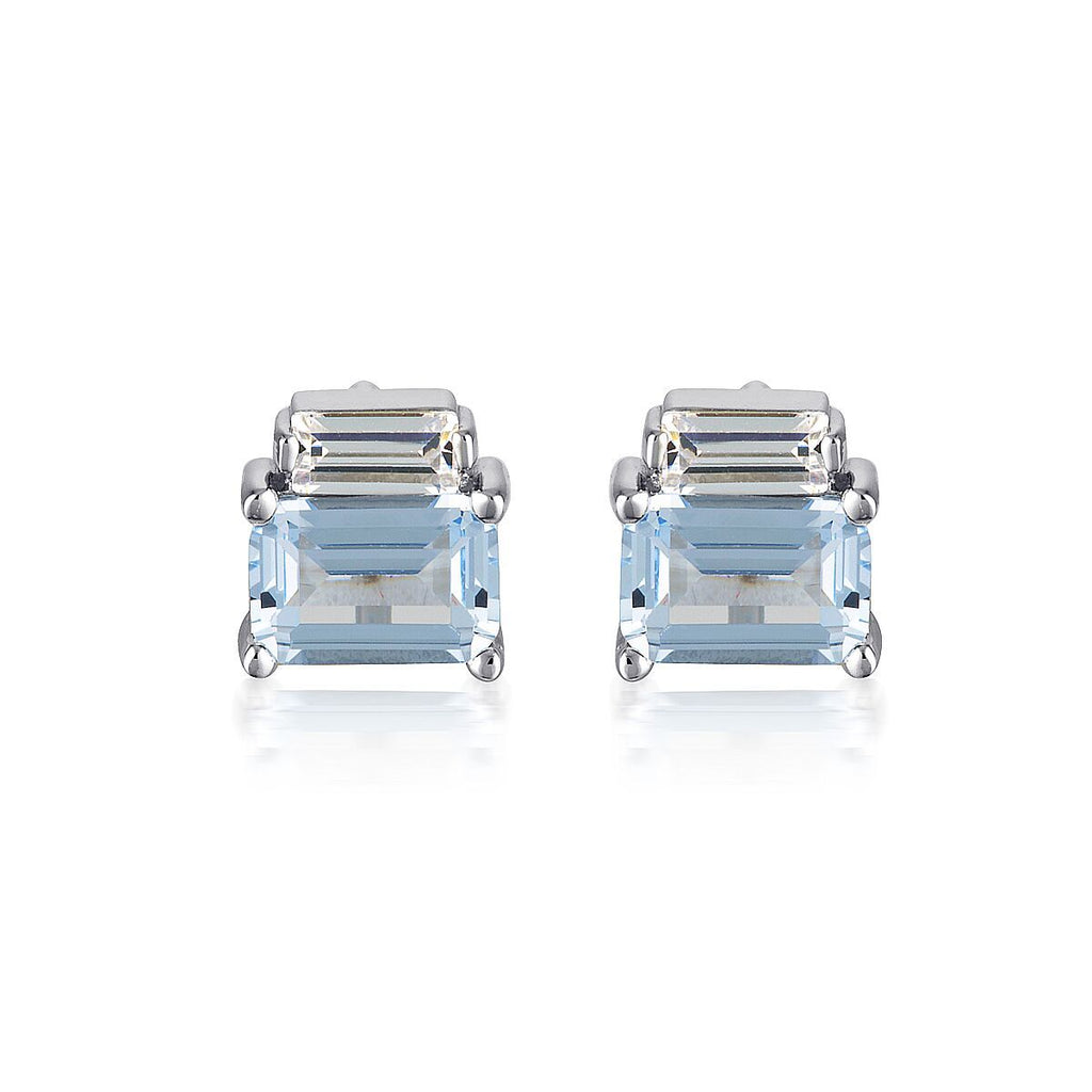GEORGINI EMILIO AQUAMARINE DOUBLE BAGUETTE EARRINGS Bevilles Jewellers