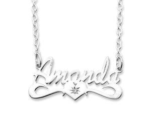 Sterling Silver Personalised Diamond Set Name Necklace