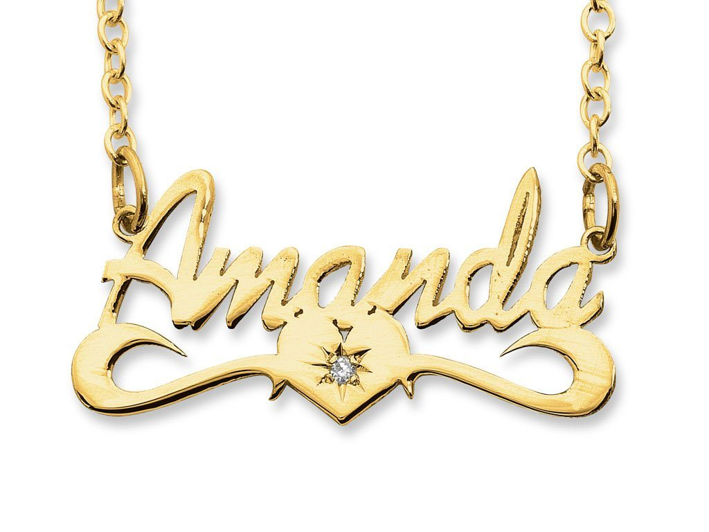 9ct Yellow Gold Personalised Diamond Name Necklace