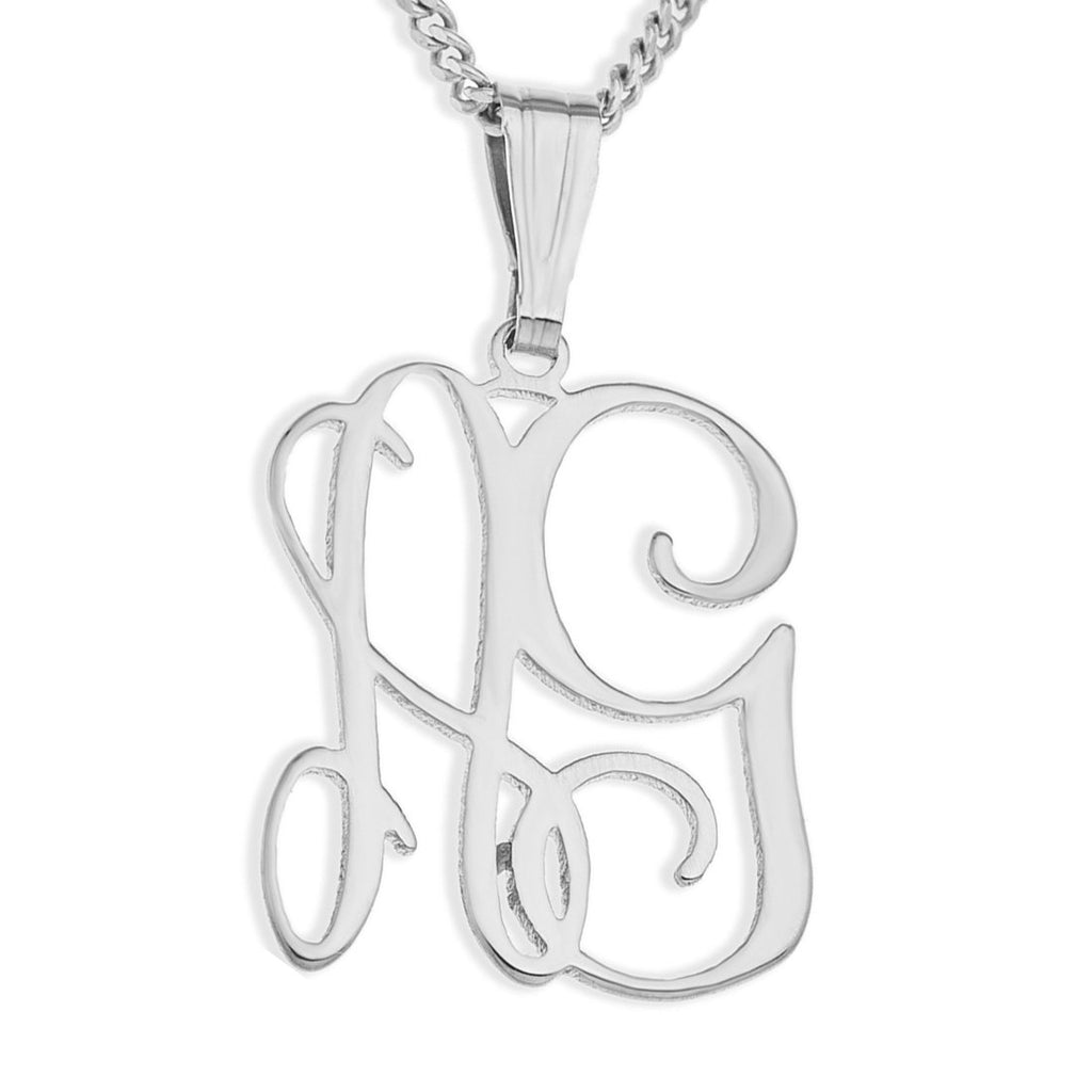 Personalised Sterling Silver Monogram Necklace Necklaces Bevilles