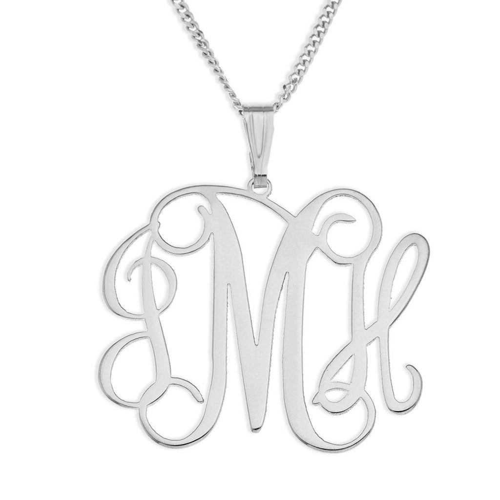 Personalised Sterling Silver Initials Monogram Necklace Necklaces Bevilles
