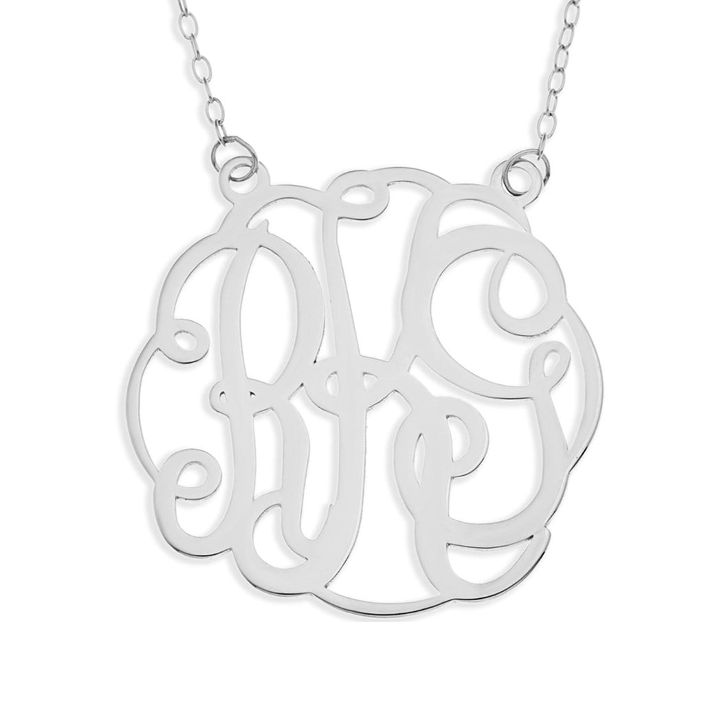 Personalised Sterling Silver 3 Initials Monogram Necklace