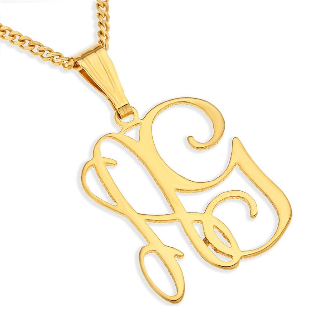 Personalised 9ct Yellow Gold Monogram Necklace Necklaces Bevilles