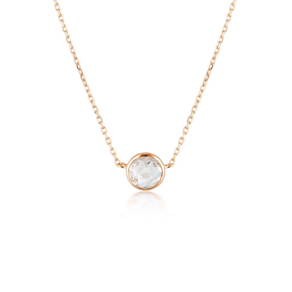 Georgini Lucent White Topaz Rose Gold Necklace Bevilles Jewellers
