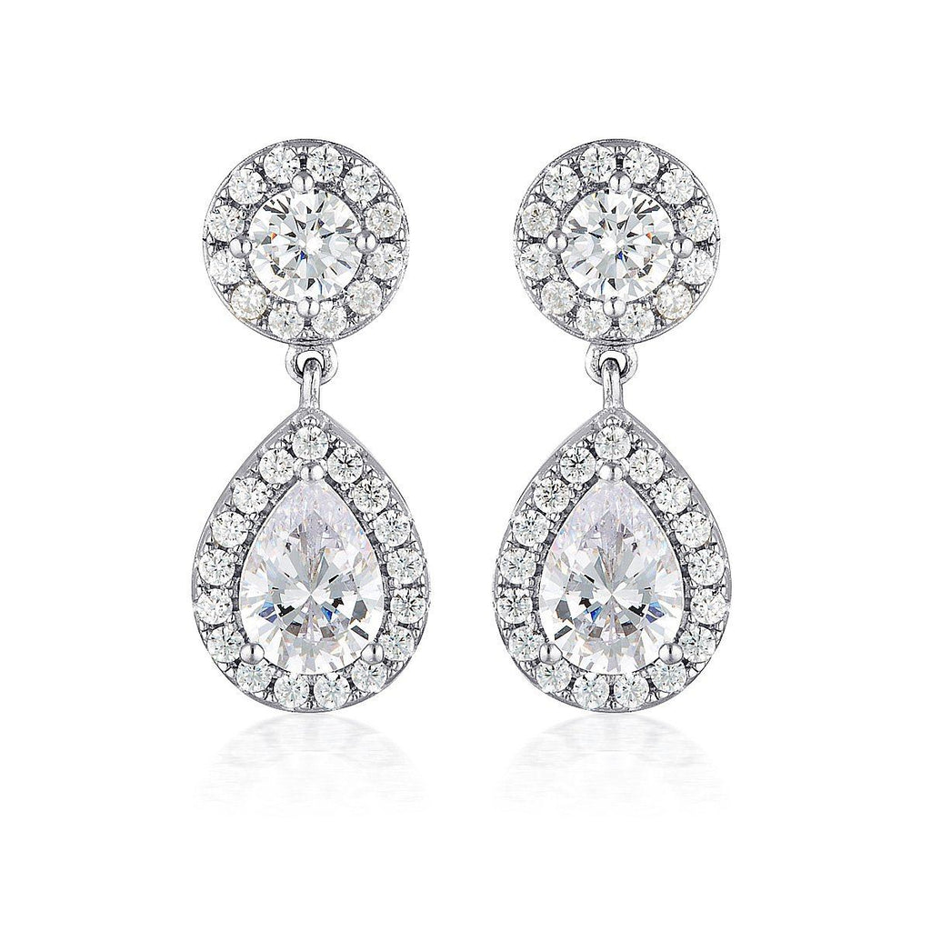 WHITE CZ RHODIUM 3MILS EARRING Bevilles Jewellers