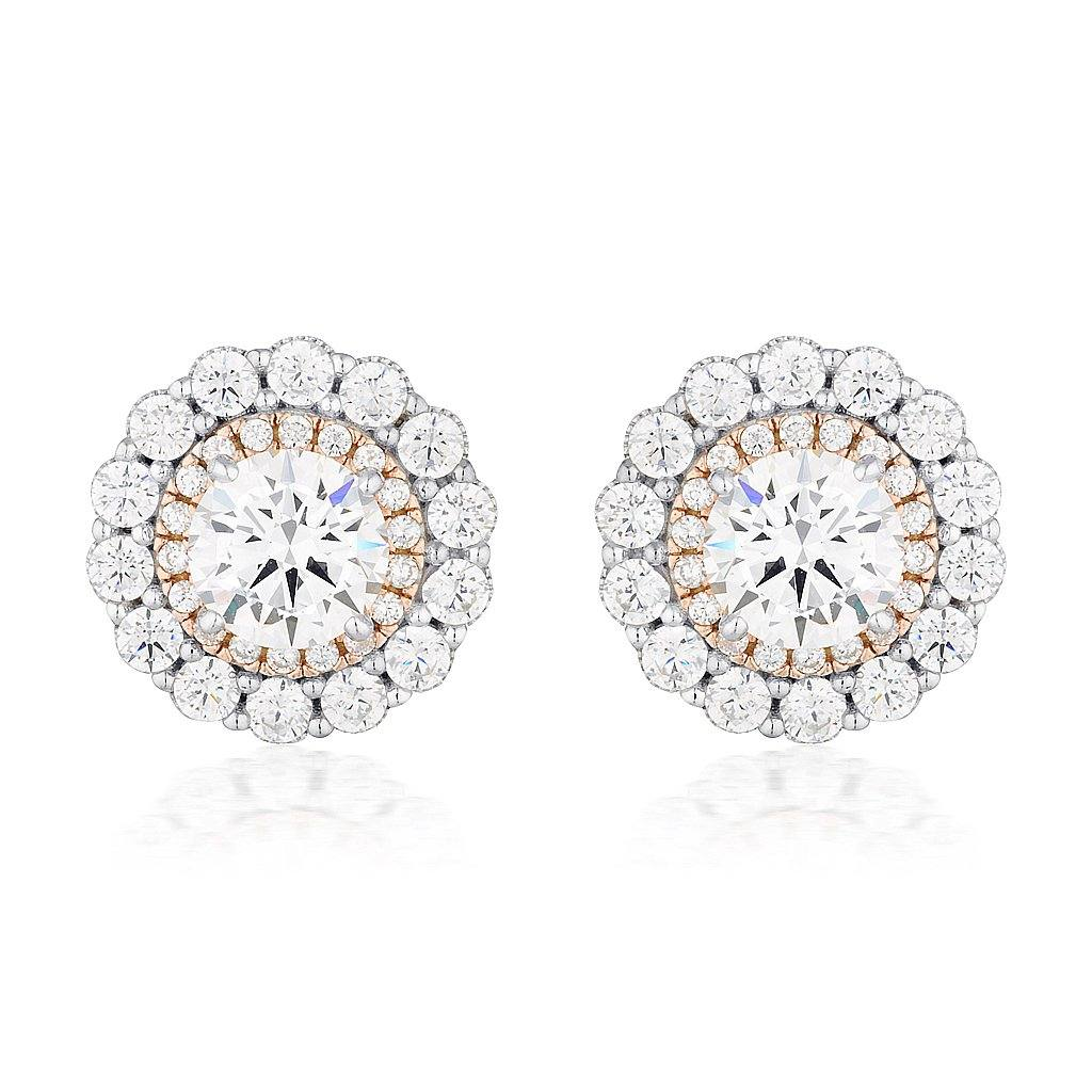 MIRANNA DOUBLE HALO STUD EARRING Bevilles Jewellers