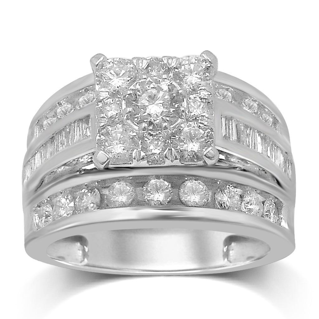 Brilliant Baguette Ring with 2.00ct of Diamonds in 9ct White Gold Rings Bevilles