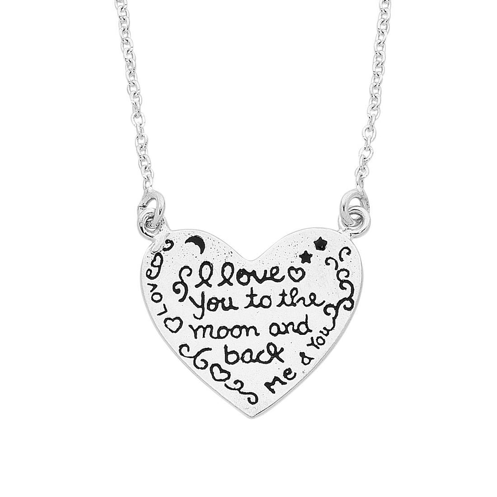 Sterling Silver 'I Love You To The Moon and Back' Necklace Necklaces Bevilles