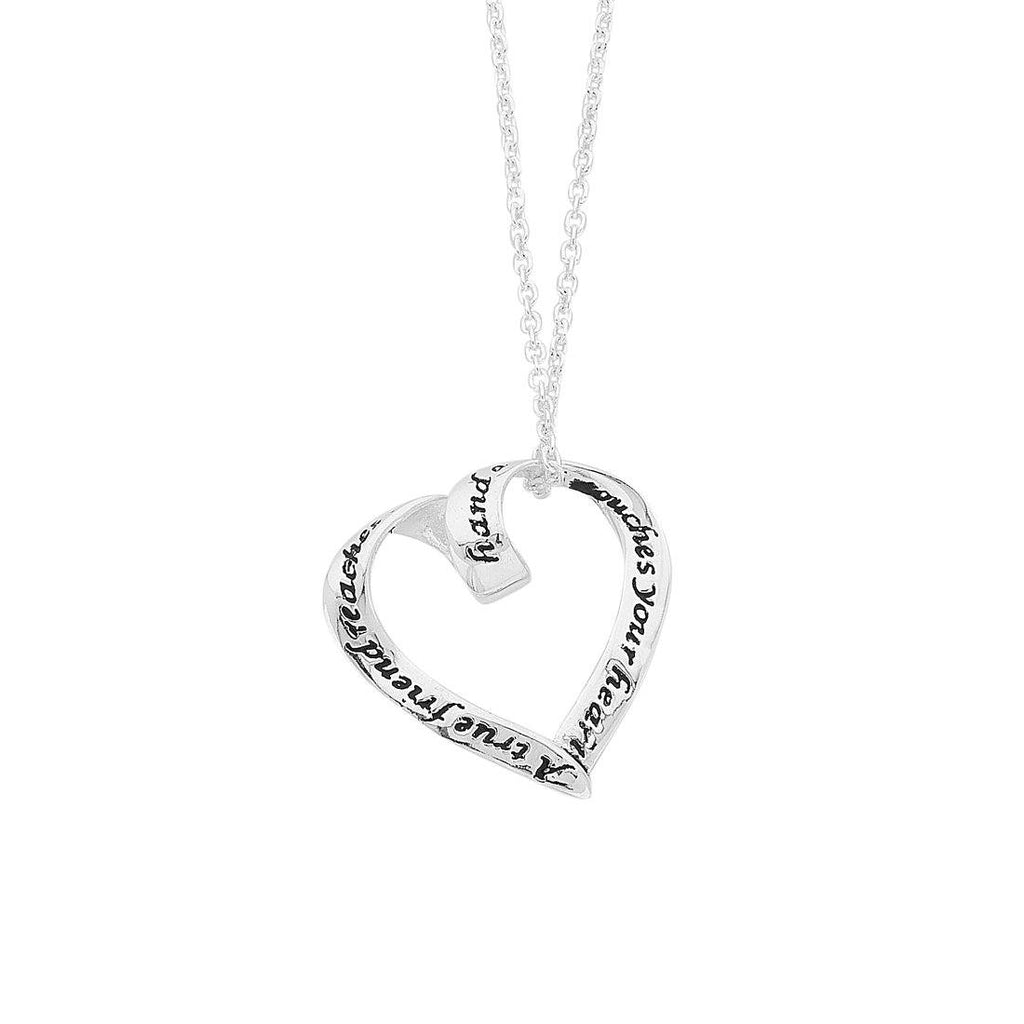 "Sterling Silver ""A True Friend"" Message Heart Necklace"