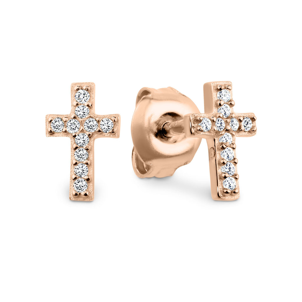 GEORGINI BABY CROSS EARRING ROSE GOLD Bevilles Jewellers