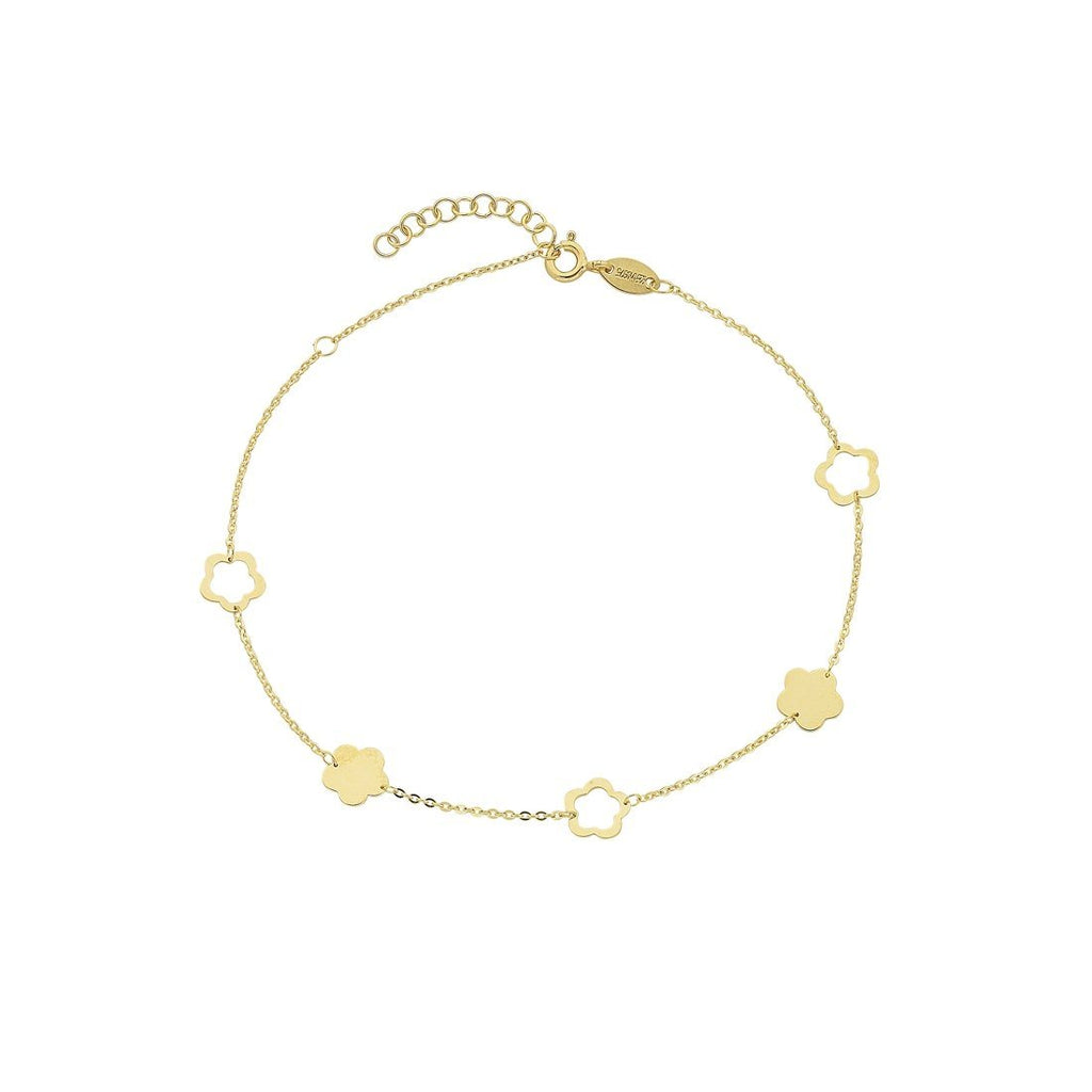 9ct Yellow Gold Silver Infused 5 Flowers Anklet