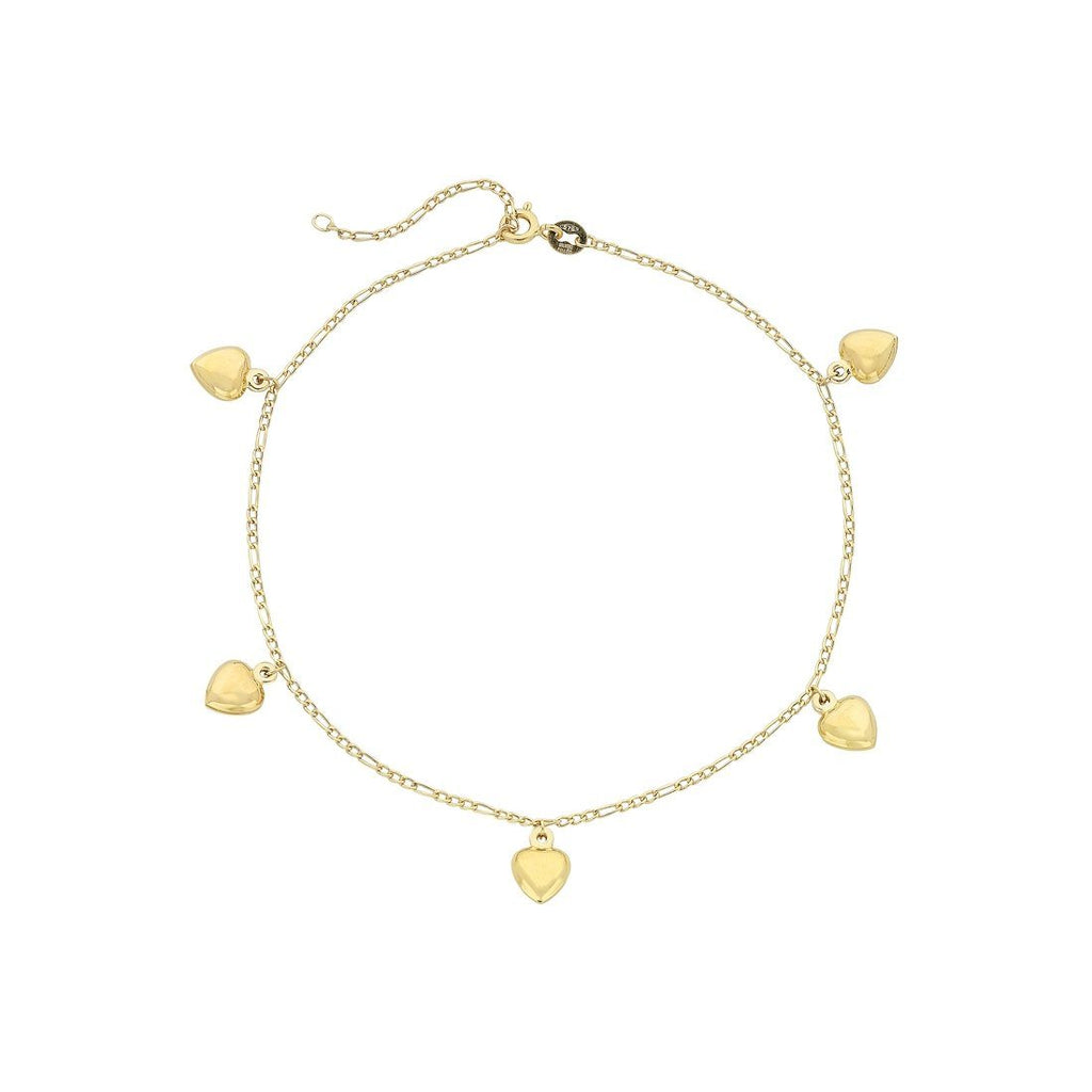 9ct Yellow Gold Silver Infused 5 Puff Heart Anklet