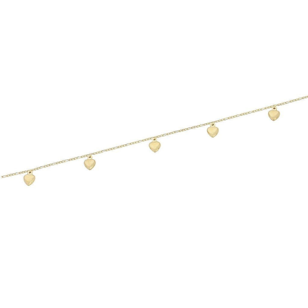 9ct Yellow Gold Silver Infused 5 Puff Heart Anklet Anklet Bevilles