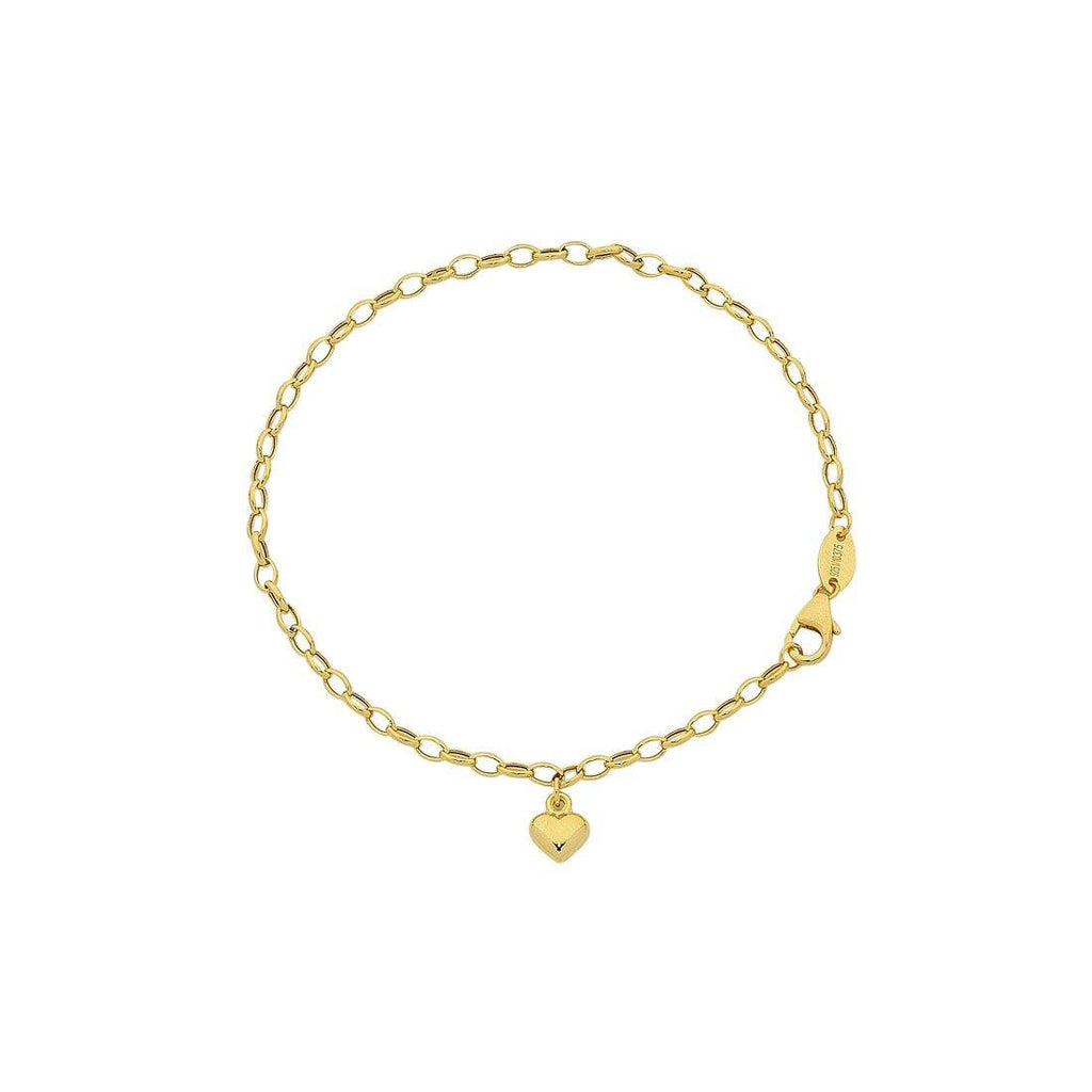 9ct Yellow Gold Silver Infused Heart Charm Bracelet Bracelets Bevilles
