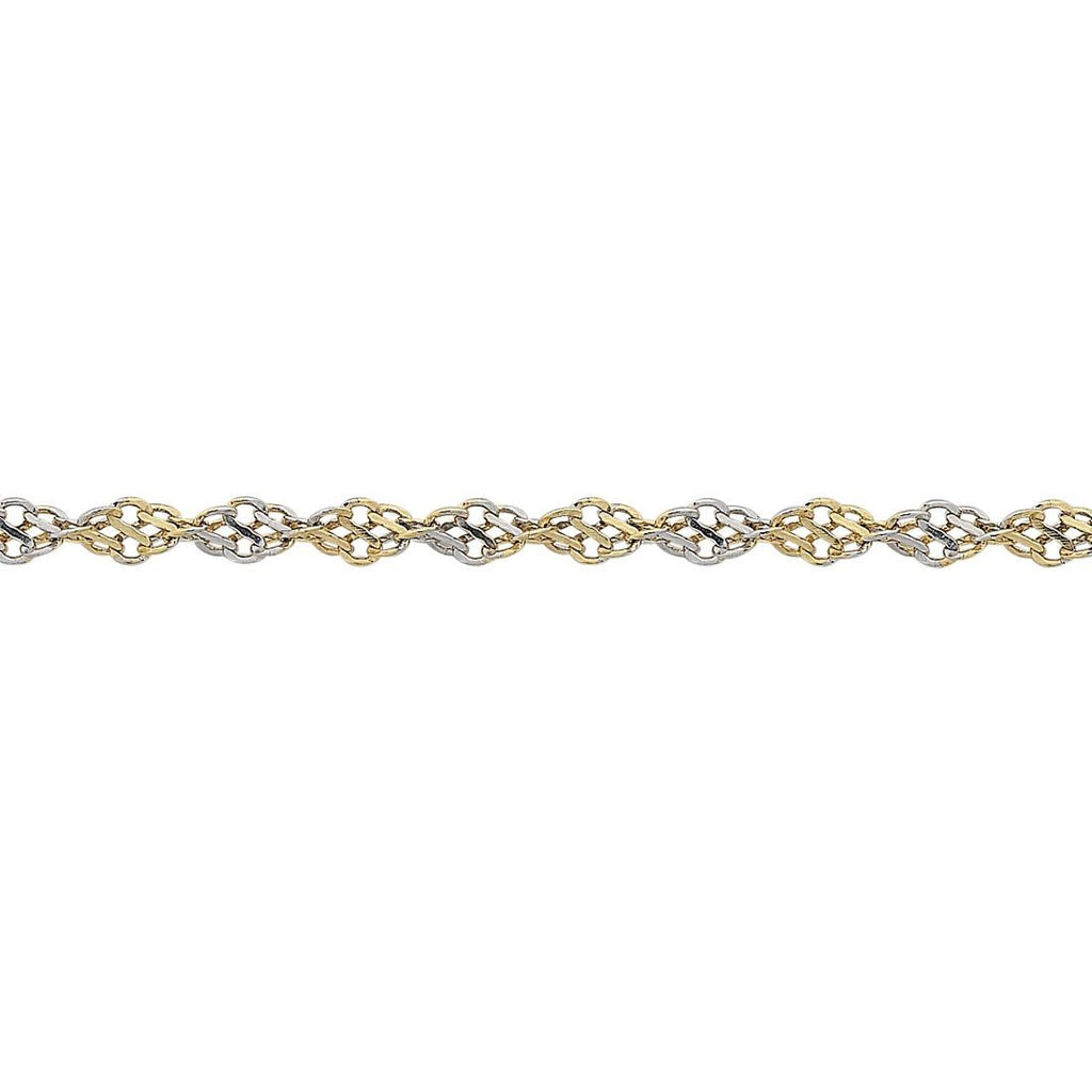 9ct Yellow Gold Silver Infused Two Tone Singapore Bracelet