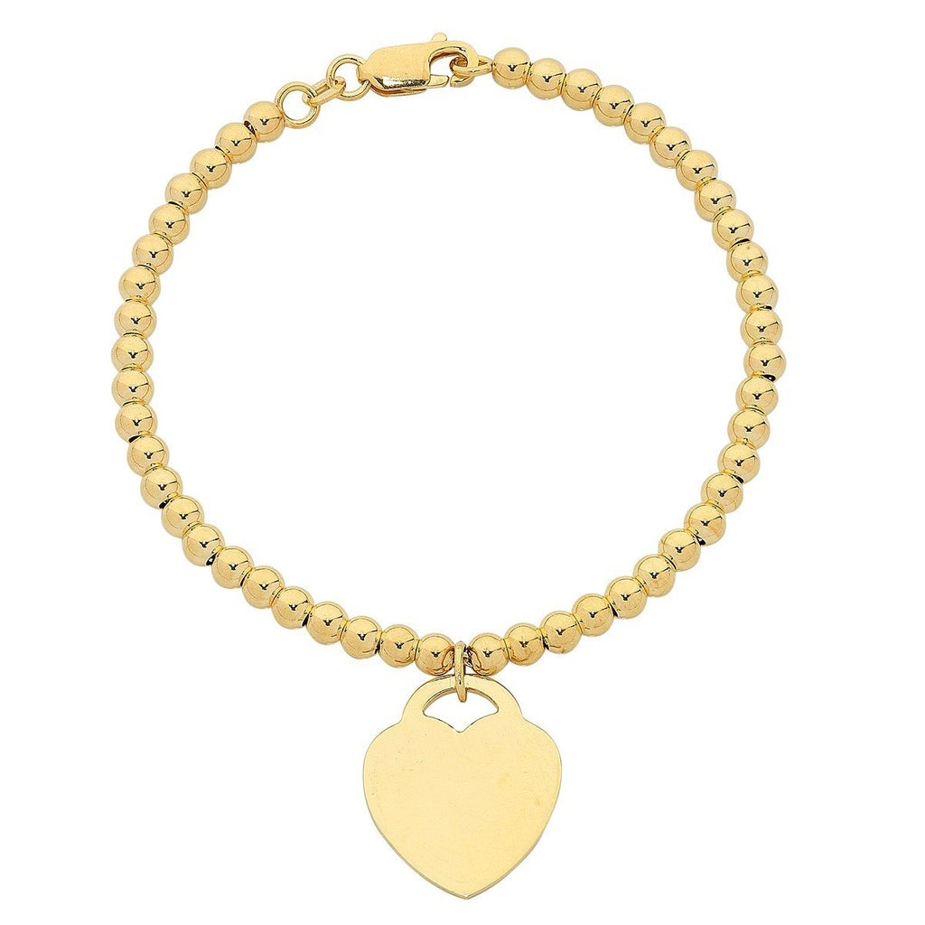 9ct Yellow Gold Silver Infused Bracelet with Heart Charm Bracelets Bevilles