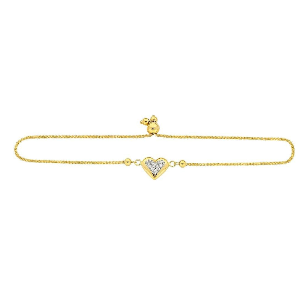 9ct Yellow Gold Silver Infused Crystal Heart Adjustable Bracelet Bracelets Bevilles