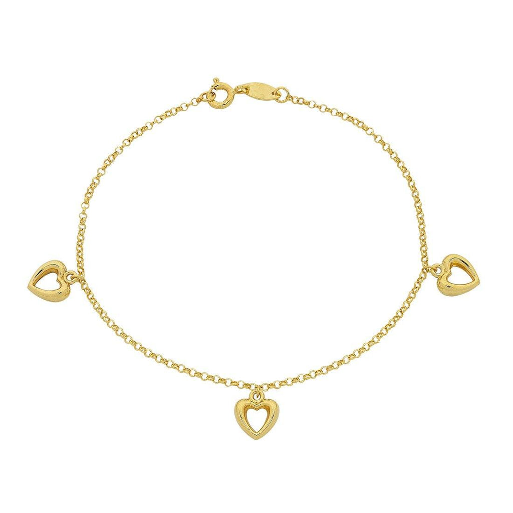9ct Yellow Gold Silver Infused Open Heart Charms Bracelet Bracelets Bevilles