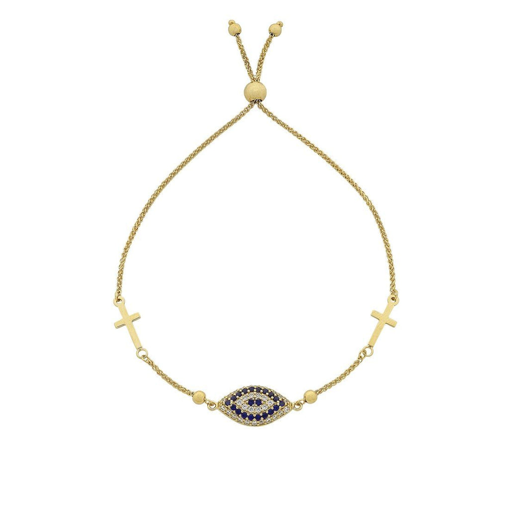 9ct Yellow Gold Silver Infused Evil Eye and Cross Extendable Bracelet