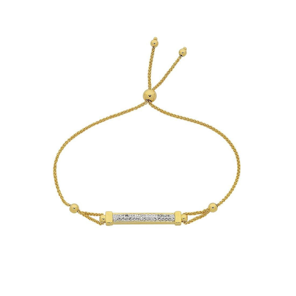 9ct Yellow Gold Silver Infused Crystal Bar Adjustable Bracelet