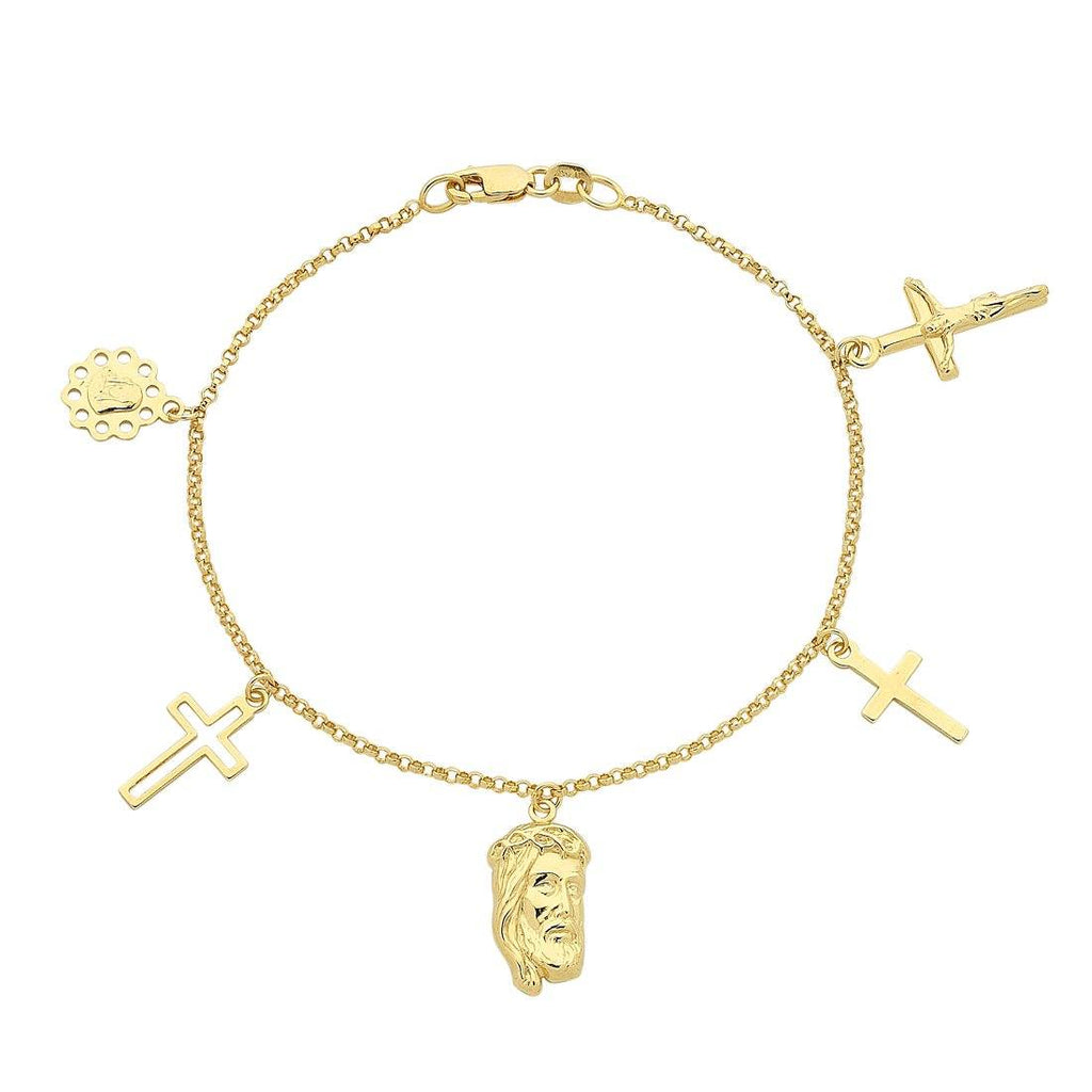 9ct Yellow Gold Silver Infused Religious Charm Bracelet