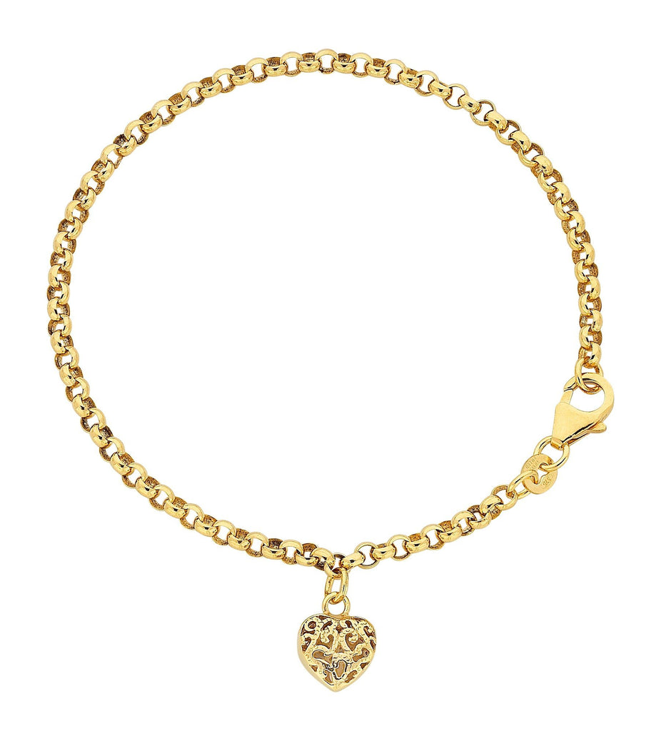 9ct Yellow Gold Silver Infused Filigree Puff Heart Bracelet