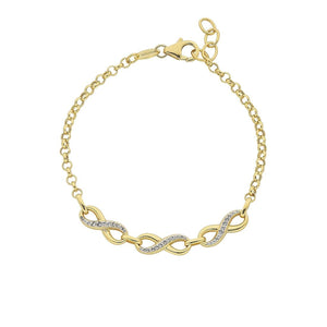 9ct Yellow Gold Silver Infused Two Tone Infinity Bracelet