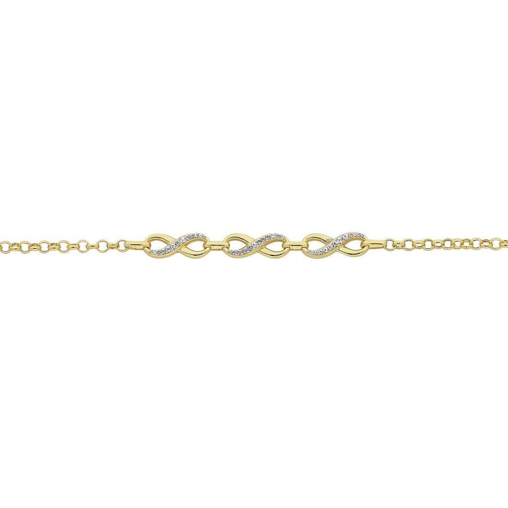 9ct Yellow Gold Silver Infused Two Tone Infinity Bracelet Bracelets Bevilles