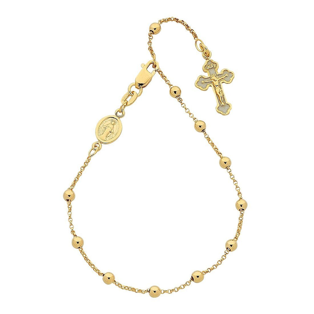 9ct Yellow Gold Silver Infused Rosary Bead Bracelet
