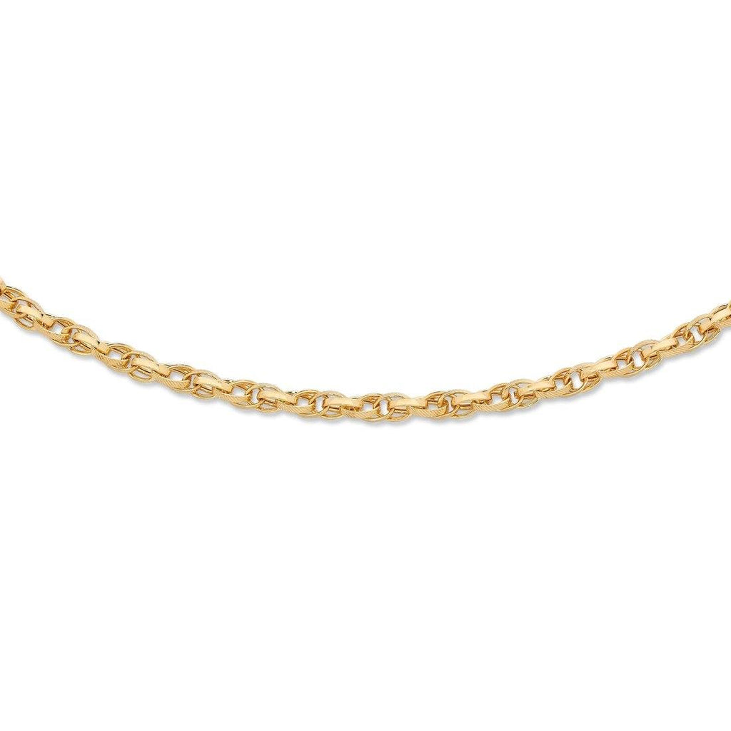 9ct Yellow Gold Silver Infused Double Oval Belcher Bracelet