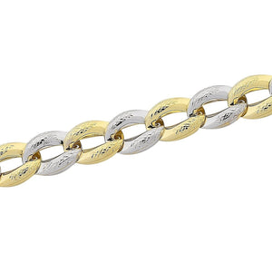 9ct Yellow Gold Silver Infused Two Tone Oval Link Bracelet
