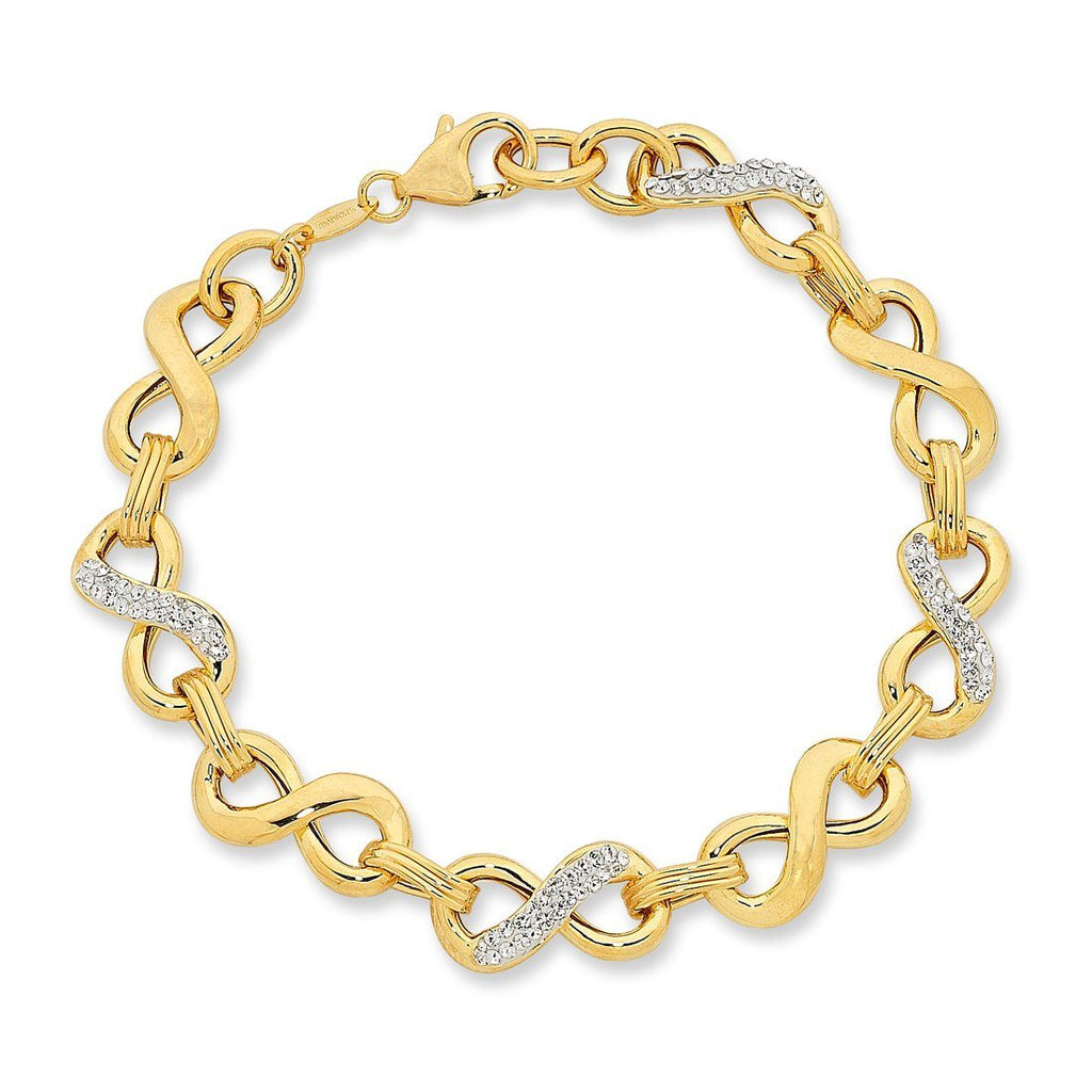 9ct Yellow Gold Silver Infused Crystal Infinity Bracelet
