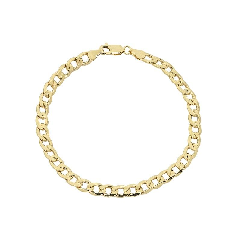 9ct Yellow Gold Silver Infused 21cm Curb Bracelet Bracelets Bevilles