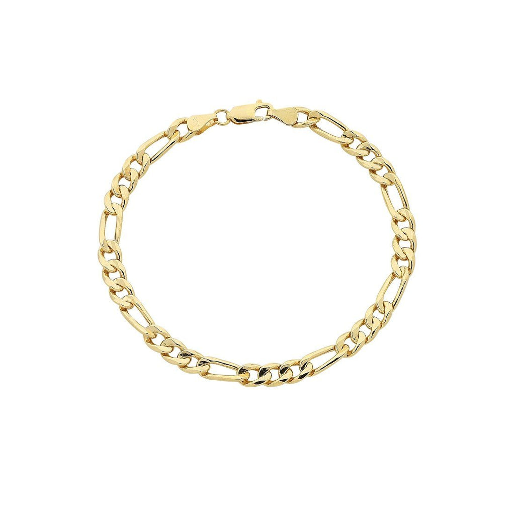 9ct Yellow Gold Silver Infused Figaro Bracelet Bracelets Bevilles