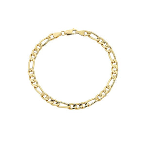 9ct Yellow Gold Silver Infused Figaro Bracelet