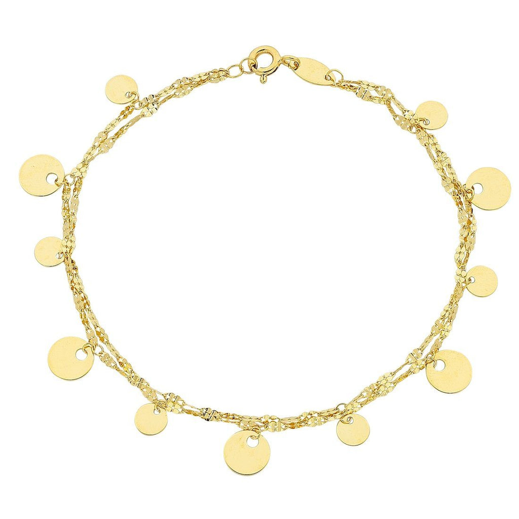 9ct Yellow Gold Silver Infused Double Strand Charm Bracelet