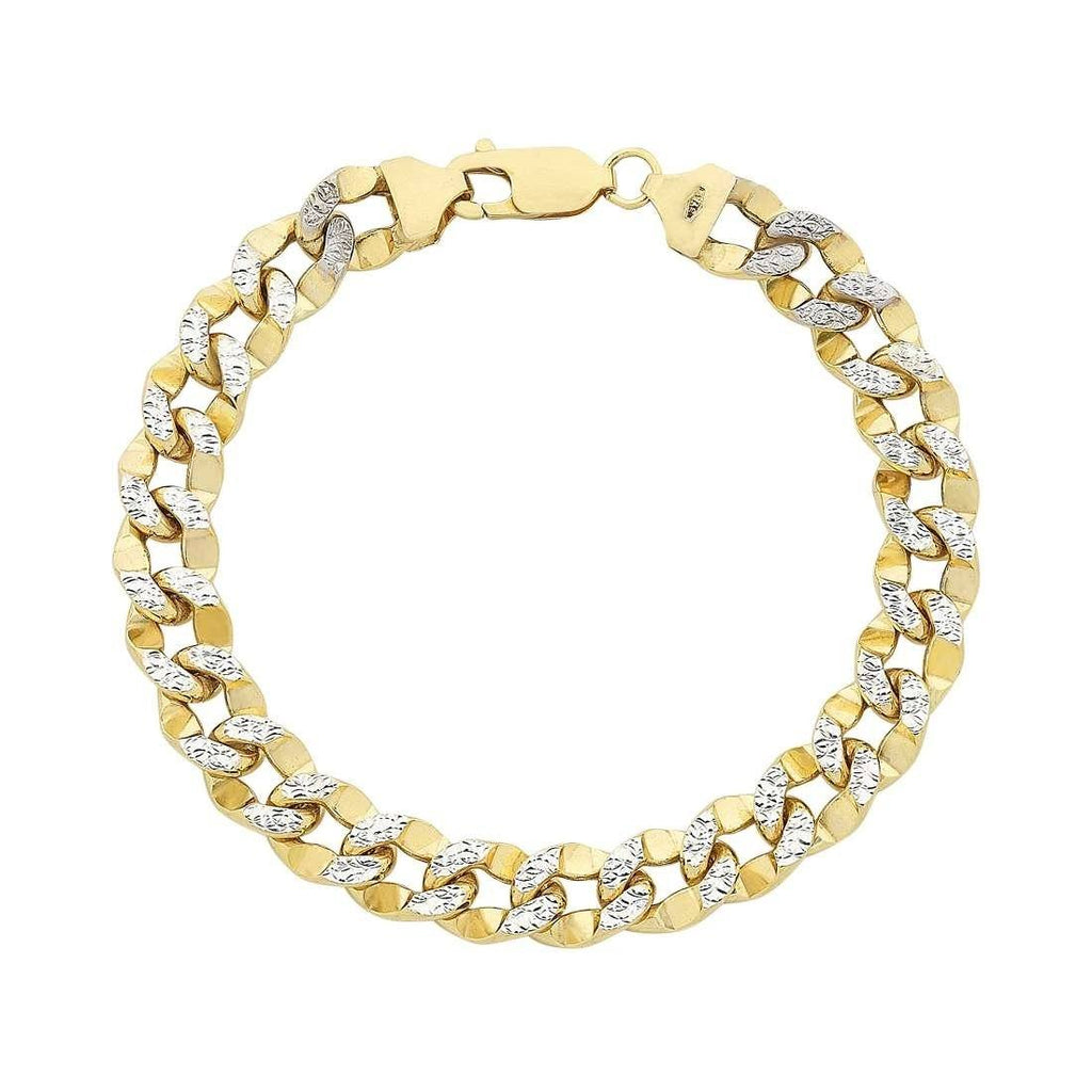 9ct Yellow Gold 2 Tone Silver Infused Diamond Cut Curb Bracelet 19cm