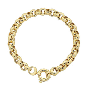 9ct Yellow Gold Silver Infused Bolt Ring Bracelet
